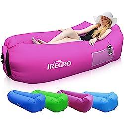 iRegro Sofa Hinchable con Almohada integrada y Bolsa, Sofa Inflable, portátil Impermeable Ligero poliéster Aire sofá Inflable ocioso, Aire Cama Tumbona de Playa para Viajes, Piscina, Camping