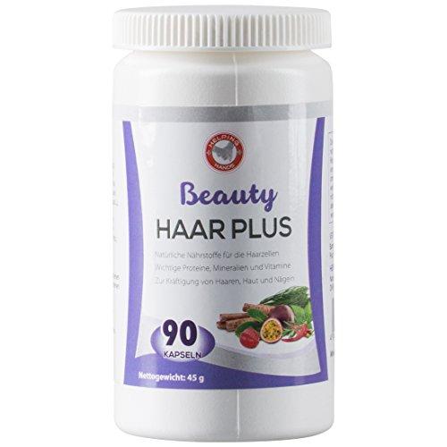 Helping Hands Haar-Plus, 90 Haar Kapseln mit Pantothensäure – Vitamine für gesunde Haut und schönes Haar, kann Haarausfall vorbeugen und Haarwachstum fördern, Haar Vitamine, Nahrungsergänzungsmittel