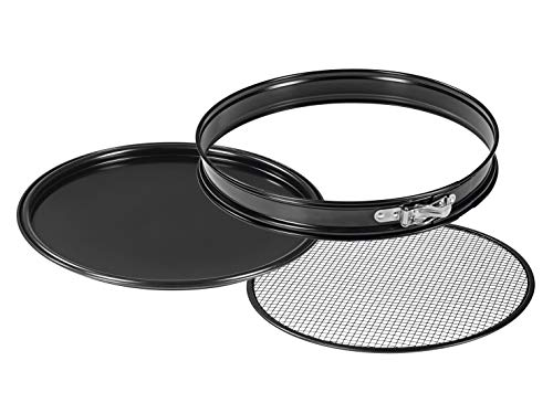 GOURMETmaxx 02270 Grill- & Pizza-Backform 3in1 31cm schwarz | Antihaftbeschichtung | fettarm grillen, backen, garen |3 teiliges Set