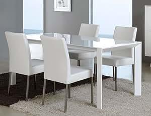 Table de salle à manger rectangulaire design laquée blanche VERONICA, avec rallonge Longueur 140 cm