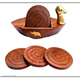 Fine Art Wood Coaster 6 Piece Wooden Coasters with Duck Shape Holder for Desk Organizer Home Office Accessories Table Décor /