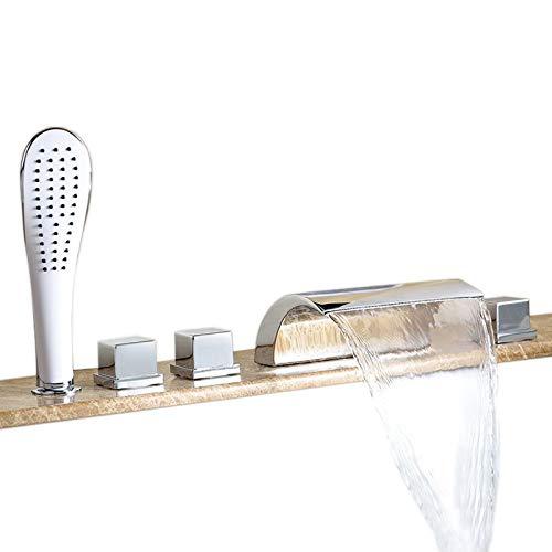 Hiendure®Elegant Zeitgenössische Chrom Armatur Wasserfall Badewanne Wasserhahn Wandhalterung mit Handbrause für Bad Badezimmer - Badewanne Wasserfall