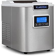 Klarstein Icemeister Eiswürfelmaschine Eiswürfelbereiter (Timer, 3 einstellbare Eiswürfelgrößen, 12 kg Eis am Tag, Eiswürfel in 15 Minuten) silber-weiß