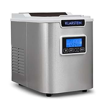 Klarstein Icemeister Machine à glaçons (réservoir de 1,1L, max. 12kg/jour, acier, minuteur, auto-netoyant, récipient en glace de 0,4 litres) - blanc