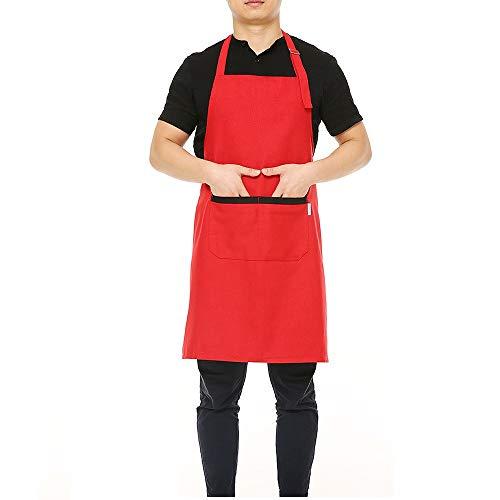Küchenschürze Frauen Schürze Kochschürze Grillschürze Für Männer Verstellbarem Halsgurt Ultra Lange Taille Krawatten Zwei Fronttaschen Rot