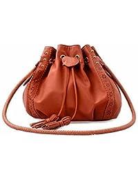 Sannysis bolsos con cordón, mochila de cuero de pu con borla