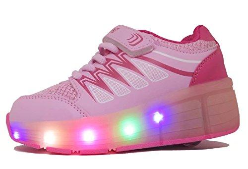 WINNEG Mädchen Wiederaufladbar Led Schuhe Mit Rollen Skateboard Rollschuhe mit ein Rad (Rosa, 34 EU) (Gute Skateboard-schuhe)