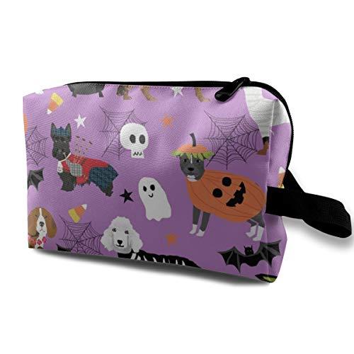 Hunde in Halloween-Kostümen - Hunderassen gekleidet Stoff - Purple_232 Tragbare Reise Make-up Kosmetiktaschen Organizer Multifunktions Fall Taschen für ()