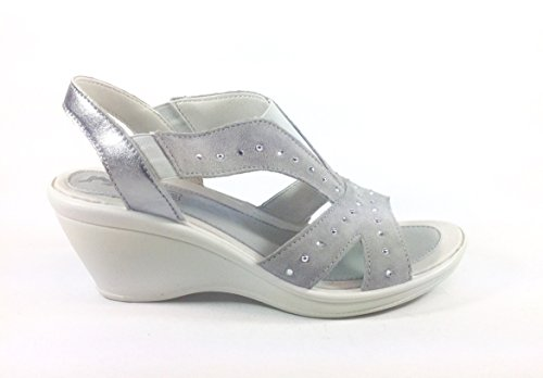 Sandales femme-chaussures en cuir avec calage Made in Italy 32911 confortable Multicolore - gris