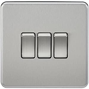 Knightsbridge SF4000BC Screwless 10 A 3-Gang 2 Way Switch, 32 W, 230 V, Brushed Chrome