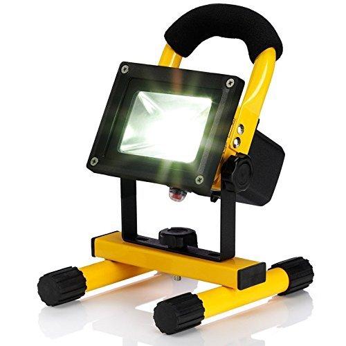 confronta il prezzo LEDemain 10W Ricaricabile Portatile Faretto Lampada da lavoro a LED, Adattatore e Caricabatteria da auto Incluso,Impermeabile Proiettore esterno [Classe di efficienza energetica A+]