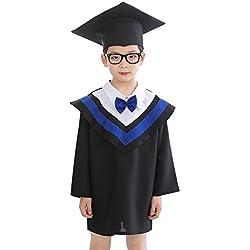 Toga Y Birrete Sombrero Graduacion para Niñas Y Niños Ropa De Cosplay Etiqueta 170(12-13 Años) Azul