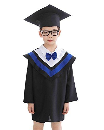 oween Cosplay Kostüme Schule Graduation Gowns Bachelor Gown + Bachelor-Kappe Etikette 110(4-5 Jahre) Blau (Kreative Kostüme Für Die Schule)