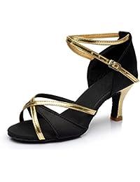 VESI-Zapatos de Baile Latino de Tacón Alto/Medio para Mujer Negro 41(Tacón 7cm)