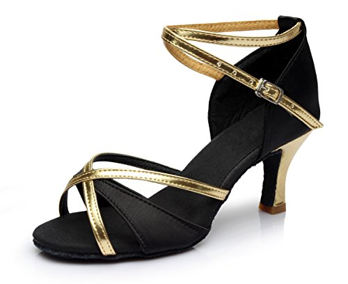 VESI-Zapatos de Baile Latino de Tacón Alto/Medio para Mujer Negro 36(Tacón 7cm)