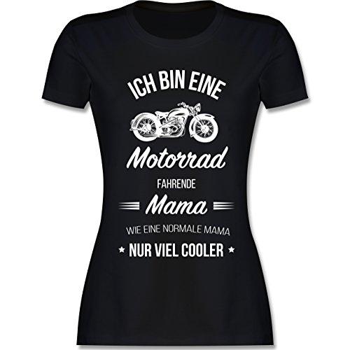 Muttertag - Ich Bin eine Motorrad fahrende Mama - M - Schwarz - L191 - Damen Tshirt und Frauen T-Shirt - Armee Mom Weißes T-shirt