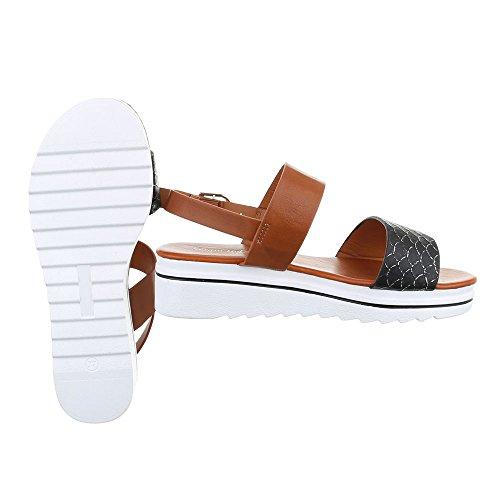 Ital-Design Komfortsandalen Damenschuhe Römersandalen Moderne Schnalle Sandalen/Sandaletten Schwarz