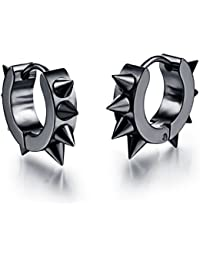 Yellow Chimes Black Spiky Stud Earrings for Boys and Men
