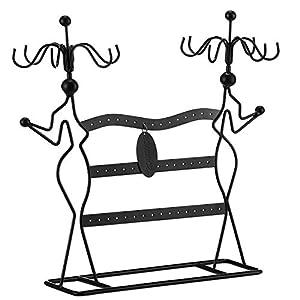 SONGMICS Körper-Design Metall Schmuckständer Weiß/Schwarz- 34,5 x 12,5 x 34 cm (BxTxH) JDS78