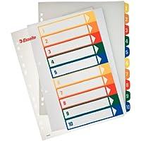 Esselte Índices Proyectos Imprimibles, Tamaño A4 maxi, 10 pestañas, Multicolor, 100213