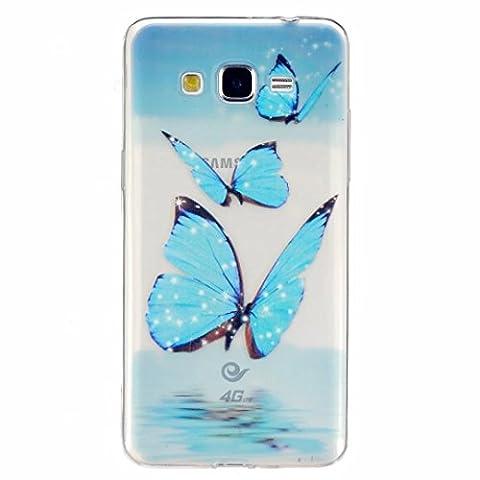 MOTOUREN Coque pour Samsung Galaxy Grand Prime G530 TPU Silicone Souple Gel Doux Housse étui de Protection Ultra Mince Personnalité Téléphone Portable Phone Case Coque -papillon bleu