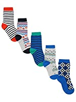 M&Co Boys Cotton Rich Colourful Striped Geo Print Ankle Socks Five Pack Multicolour 4/6H