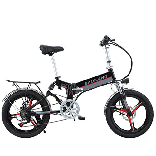 BNMZXNN Bicicleta Plegable de 20 Pulgadas, transmisión de 7 velocidades, Coche eléctrico Inteligente 48V350W, Scooter eléctrico de Aluminio para Acampar...