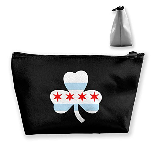 Travel Cosmetic Bag Chicago Clover Flag Tragbare Trapez Make-up Tasche Mäppchen Clutch Bag - Chicago-griff