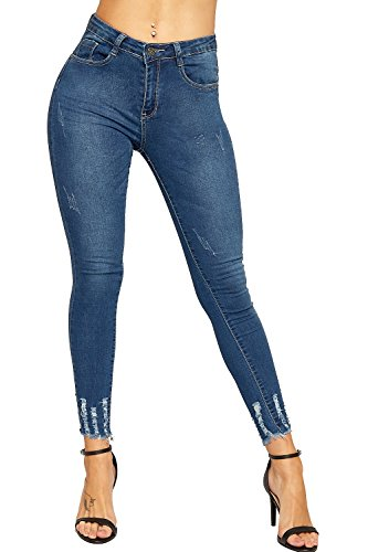 Tasche Zuschneiden (WEARALL - Damen Ripped Bekümmert Strecke Denim Tasche Damen Dünn Bein Knöchel Jeans - Dunkelblau - 40)