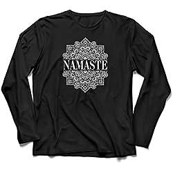 lepni.me Camiseta de Manga Larga para Hombre Meditación Yoga Namaste Mandala Zen Regalo Espiritual para Yogui (XX-Large Negro Multicolor)