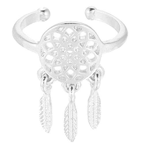 mujeres anillo - SODIAL(R)mujeres hueco Atrapasuenos pluma colgante apertura anillo (plata)