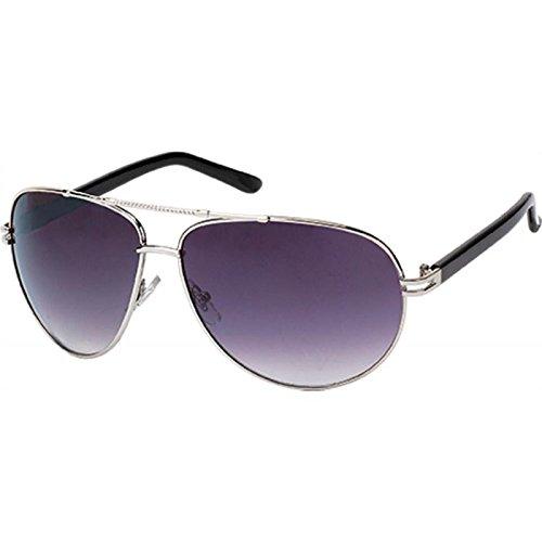 Sonnenbrille Pilotenbrille 400 UV Metall getönt gebogen Steg oben geriffelt schwarz