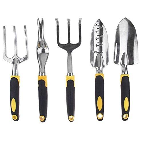 Garten-Werkzeuge Set von 5 Stück, Fancyli Garten Rasen Set Hand Gabel, Kultivator, Maurerkelle. Root nehmen Gerät und Pflanzmaschine/Rechen