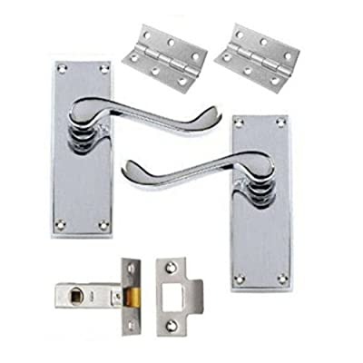 Victorian Scroll Polished Chrome Door Handle Latch Pack + Hinges & 64mm Latch produced by Discount Hardware UK - quick delivery from UK.