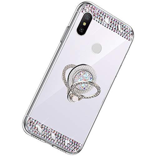 Herbests Kompatibel mit Xiaomi Mi A2 Lite Hülle Glitzer Kristall Strass Diamant Silikon Handyhülle mit Ring Halter Ständer Schutzhülle Überzug Spiegel Clear View Handytasche,Silber