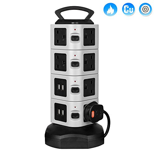 top-max-2m-4-usb-14-way-outlet-extension-lead-surge-protector-vertical-power-strip-tower-socket-with