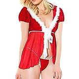 Dorical Weihnachten Dessous Lingerie Reizwäsche Dessous Set Weihnachts Negligee Babydolls Kostüm Xmas Wäsche + G-String(Rot C,X-Large)