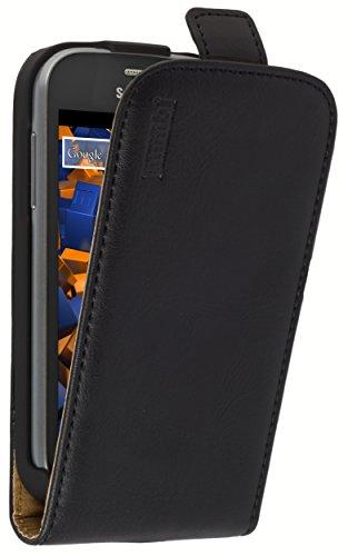 mumbi Echt Leder Flip Case kompatibel mit Samsung Galaxy Trend Lite Hülle Leder Tasche Case Wallet, schwarz -