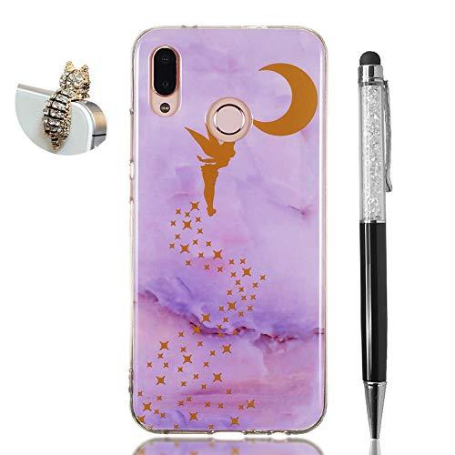 Hirkase Huawei P20 Lite Cover,Antiurto Ultra Sottile Anti-Graffio Cassa del Telefono per della Copertura + Penna Stilo + Tappo Antipolvere(Elfo Marmo Viola)