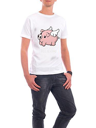 """Design T-Shirt Männer Continental Cotton """"Flying pig"""" - stylisches Shirt Tiere Comic von NemiMakeit Weiß"""