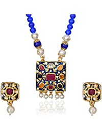 Sansar India Jaipuri Meena Enamel Work Square Navratna Pendant Earrings Blue Beads Necklace Set For Girls And...