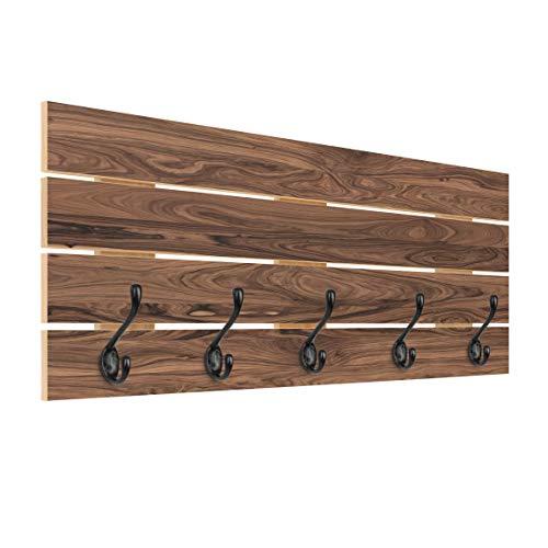 Wandgarderobe Holz Santos Palisander Garderobe & Haken schwarz, 40x100 cm