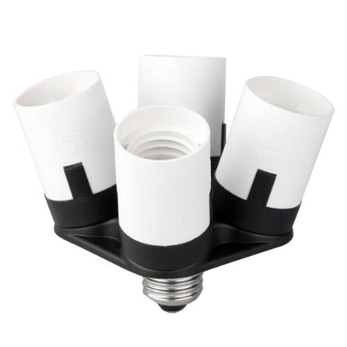 Adaptador converter bombilla luz LED socket 4 en 1 casquillo plástico base E27