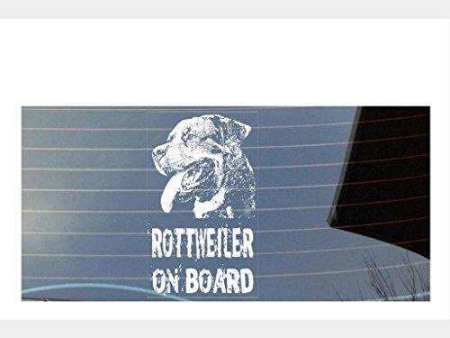 Rottweiler On Board Auto Fenster Aufkleber–weiß (Pfote Drucken Haustier-schüssel)