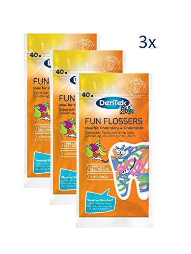 3 X 40 Stk. Dentek Fun Flossers Kids - Zahnseide-Sticks speziell für Kinder - mit Fruchtgeschmack - rutschfester Griff - bunte Farben