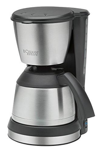 Bomann KA 1370 CB Cafetera de Goteo con Jarra Termo, Capacidad 8-10 Tazas 1 litro, 800W, 800 W, 1.2 litros, De plástico, Acero Inoxidable, Negro y Plata