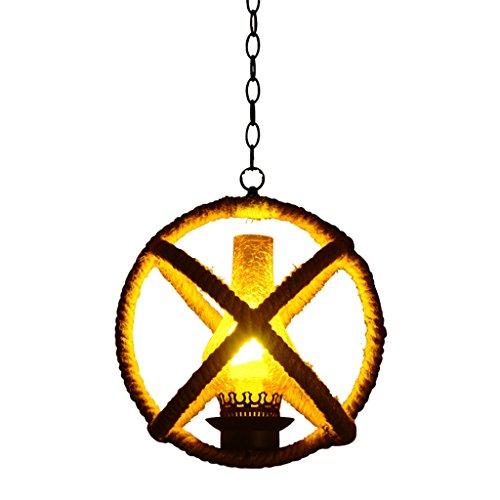 Loft Retro Kugel Hanf Seil Kronleuchter, kreative Restaurant Deckenleuchten, für Bar/Küche / Wohnzimmer Leuchten-Glas Lampenschirm-E27 * 1- Ohne Lichtquelle 39x44 cm