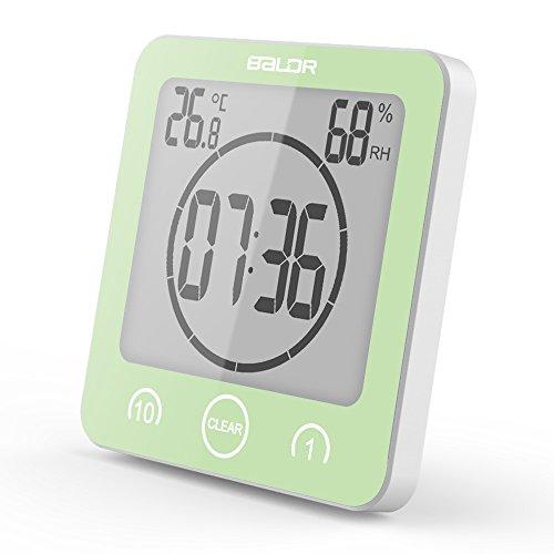 FSHGZ LED Reloj Despertador Digital Con Ventosa, Termómetro, Higrómetro, Impermeable, Temporización, Super Gran Pantalla LED Reloj De Pared De Baño Digital, 4.5x2x4.5 Inch , 1 PC (sin Batería 2xAAA) ( Color : Green )