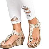 Sandalias Mujer Cuña Alpargatas Plataforma Bohemias Romanas Flip Flop Mares Playa Gladiador Verano Tacon Planas Zapatos Zapatillas Negro Beige 35-43 BG37