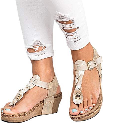 Sandalias Mujer Cuña Alpargatas Plataforma Bohemias Romanas Flip Flop Mares Playa Gladiador Verano Tacon Planas Zapatos Zapatillas Negro Beige 35-43 BG40
